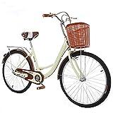 HUAQINEI Bicicleta de 22 Pulgadas, 24 Pulgadas, Hombre, Mujer, Estudiante, Viajero, Ocio Urbano, Transporte, Retro, Bicicleta, Adulto, Princesa, Bicicleta, Negro