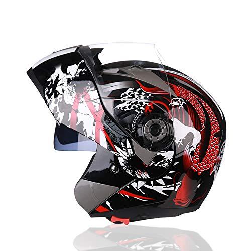 Stella Fella Casco de moto para moto, casco de cara abierta, doble lente, para hombre y mujer, coche eléctrico, cuatro estaciones, color violeta/blanco/rojo/negro (color: rojo)