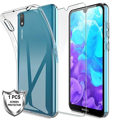 MP-MALL LK Compatible con Huawei Y5 2019 Funda con 1 Pack Protector de Pantalla Vidrio Templado, HD Transparente Carcasa Ultra Fina Suave TPU Silicona Gel Case Cover - Clara
