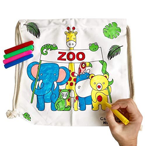 Coloring Heroes Kinder Turnbeutel zum selber bemalen inkl. 5 Stifte 34x34cm Farbe: Natur (Zoo-Tiere)