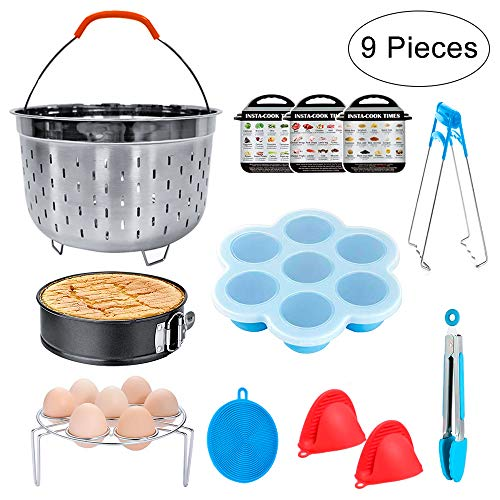 Bestcool Accesorios para ollas instantáneas, juego de ollas a presión con estante para vaporera de huevo, moldes para picaduras de huevo/sarten/pinzas de cocina antiadherentes (6,8 qt)