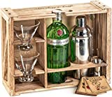 Rustic Bartender Kit with Stand   Bar Set Cocktail Shaker Set with Martini Glasses For Drink Mixing   Martini Shaker Set, Bar Tools, Cocktail Glasses (Set of 2)   Best Home Bar Shaker Set Gift
