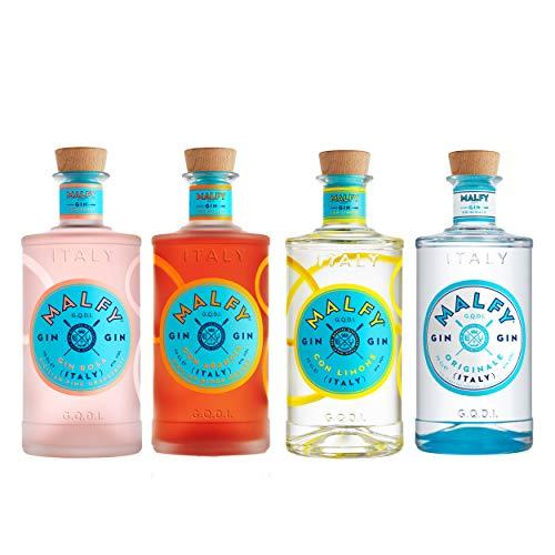 Malfy Range Set, Originale + Con Limone + Rosa + Con Arancia, italienischer Gin, Alkohol, 4 x 700 ml