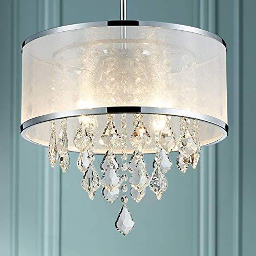 Raelf 4 lámparas de cristal con flecos de cristal de la lámpara pendiente moderna de la lámpara de batería incorporada de techo interior del accesorio ligero de la sala comedor dormitorio Luz