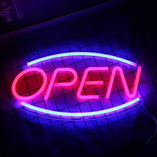 ABIERTO Cartel publicitario led luz de neón Arte de la pared Decoración Cartel de la tienda Bar Café Comercial neón luz nocturna decoración de la habitación con tecnología usb (17.7 '' × 8.7 '')