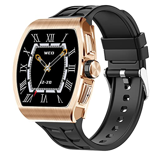 QFSLR Smartwatch Reloj Inteligente Deportivo con Monitor De Frecuencia Cardíaca Llamada Bluetooth Monitor De Presión Arterial Monitoreo De Oxígeno En Sangre Podómetro,Oro