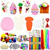 Easter Foam Crafts for Kids, Easter Foam Bunny Eggs Craft Include Pipe Cleaners, Pom Poms, Colorful Popsicle Sticks, Gem Stickers, Wiggle Eyes Etc
