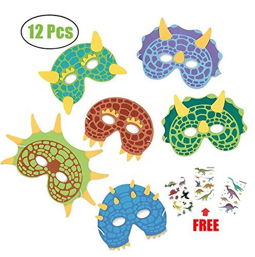 MAKFORT 12 Stück Dinosaurier Masken Kinder Dino Masken Mit Elastischen Seil für Cosplay Kinder Dino-Geburtstagsparty Junge und Mädchen