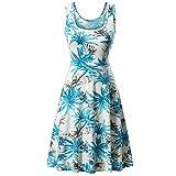 MRULIC Damen Mädchen und Prinzessin Kleid Sommer Ball Kleid Strand Sommerkleid(E Blau,EU 36/CN S)