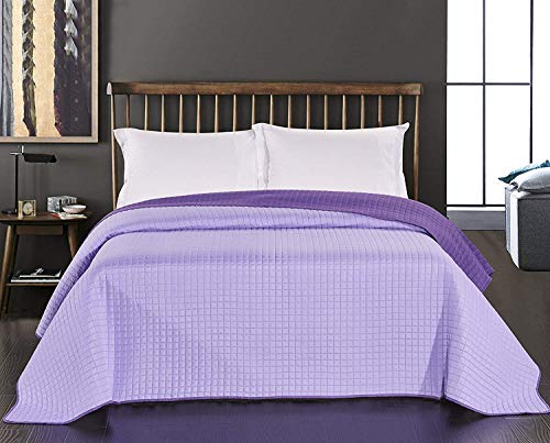 DecoKing 45916 Tagesdecke 220 x 240 cm lila violett Bettüberwurf zweiseitig Steppung Purple Paul
