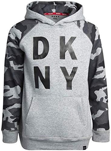 DKNY Boys' Sweatshirt - Fleece Pullover Hoodie, Medium Grey Camo, Size S