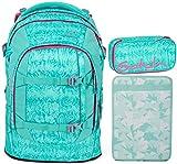 Satch Pack Aloha Mint 3er Set Schulrucksack, Schlamperbox & Heftebox Mint