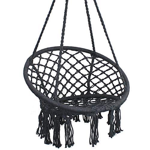 PIRNY Hammock Chair Rope Hanging Swing,Capacity Up to 400 Lbs,Boho Handmade Tassels,Suitable for...
