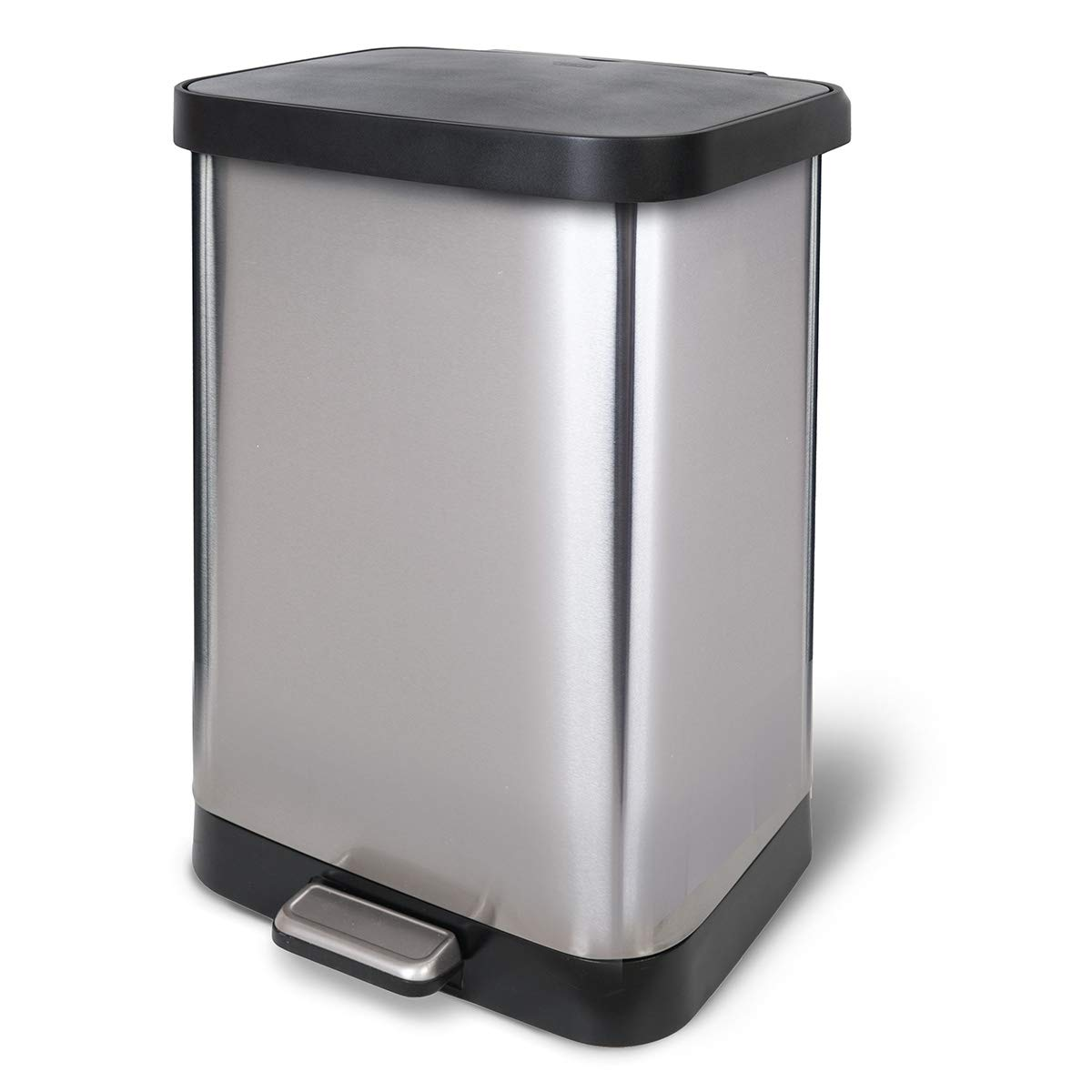 Glad GLD-74506 Stainless Steel Step Trash Can with Clorox Odor Protection | Large Metal Kitchen Garbage Bin with Soft Clos...