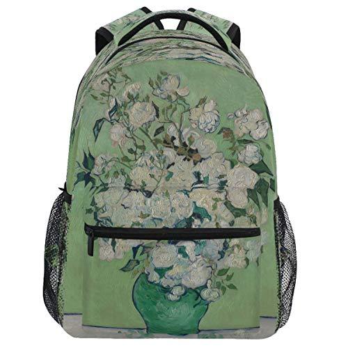 Oarencol Vincent Van Gogh Roses - Mochila para libros con diseño de flores blancas