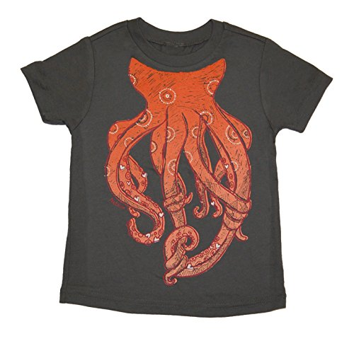 Peek-A-Zoo Toddler Become an Animal Short Sleeve T Shirt - Octopus Charcoal (5T)