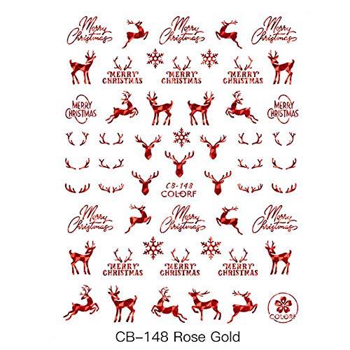 9 fogli adesivi per unghie di Natale decalcomanie 3D nail art stencil disegni fiocchi di neve pupazzi di neve Babbo manicure decorazione accessori per unghie adesivi per unghie di Natale