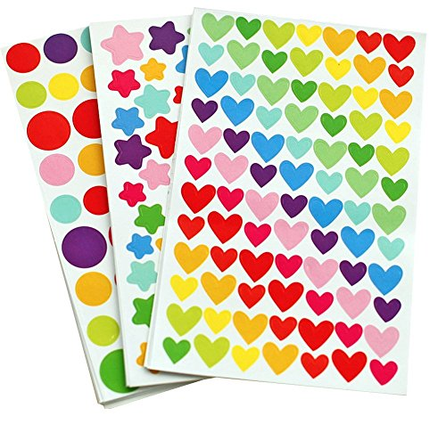 Yansanido 18 Sheets Colorful Decorative Colored Dots,Heart,Stars Adhesive Sticker Tape Kids Craft Scrapbooking (18 Sheet)