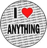 AK Giftshop Decoración para tartas personalizada, diseño con texto en inglés 'I love anything', 20 cm