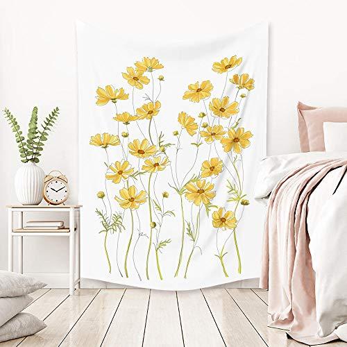 Tapiz de margarita roja y amarilla nórdica colgante de pared Simple decoración del hogar tapiz de pared tela de pared artículos para el hogar Iuq-72