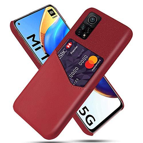 ANWEN para Xiaomi Mi 11, Funda de Cuero con Tarjetero, Carcasa rígida Delgada, a Prueba de Golpes, antiarañazos, Billetera, Funda de Cuero, Funda para teléfono, para Xiaomi Mi 11, Rojo