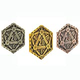 3 Pcs Metal Coins D20 Coins 45mm Metal Plated for RPG D&D Critical Fumble Novelty