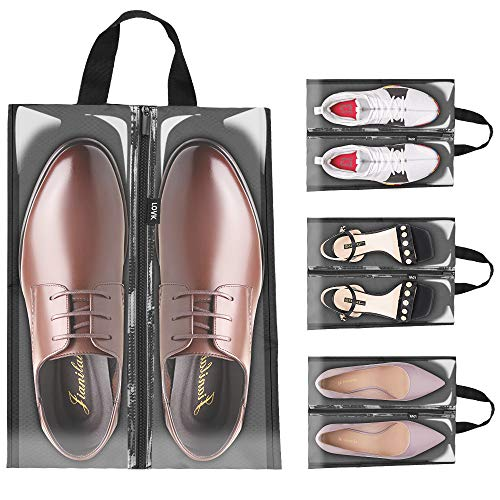 LOVK Shoe Bags for Travel, 4 PCS X-Large Travel Accessories Shoe Bags Transparent Waterproof Nylon Packing Cubes Luggage Organizer with Zipper for Men Women Kids,Toiletry,Gym,Laundry