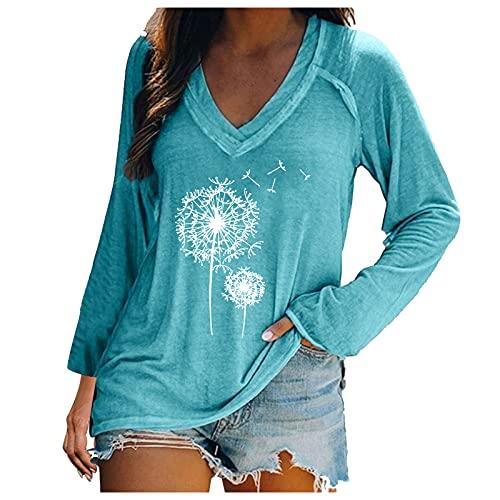 QUNIMA Túnica para mujer, verano, elegante, cuello en V, manga corta, blusa de verano de manga larga, blusa para mujer, blusas azules, tallas grandes, festivas, entalladas