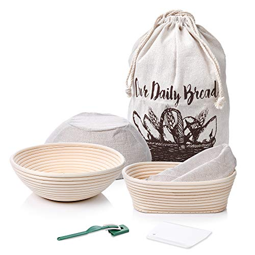7 Piece Banneton Proofing Bread Basket 9 inch Round + 10x6x4 inch Oval Sourdough Baking Set | Lame + Dough Bowl Scraper+ Bread Bag | Perfect with Sourdough Starter for Making Artisan Homemade Bread