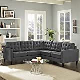 Modway Empress Mid-Century Modern Upholstered Fabric Sectional Sofa Set In Gray
