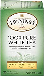 Twinings of London Fujian Chinese Pure White Tea, 20-Count Tea Bags (Pack of 6)