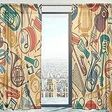 Mnsruu - Cortinas de Gasa para Ventana, diseño Vintage Retro con Notas Musicales, para salón, Dormitorio, 140 x 198 cm, 2 Paneles