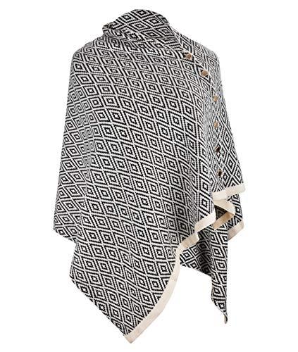 CARCOS Damen Poncho Schal mit Knöpfen Fransen Cape Decke Kaschmir-Mischung Weich Warm Multifunktion für Frühling Herbst Winter