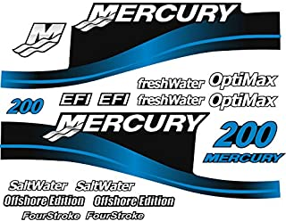 Mercury Outboard Graphics Kit Decal Sticker Compatible with Mercury 200 HP Blue