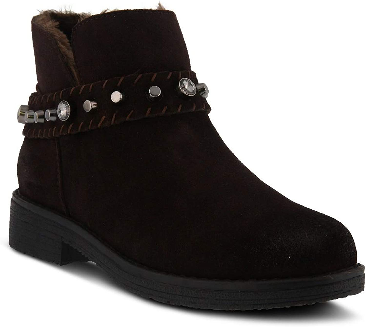 Spring Step Women's Rodea Bootie   color Chocolate Brown   Suede Bootie