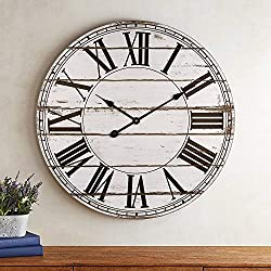 BEW Large Wall Clock, 24-Inch Vintage Rustic Distressed Shiplap Decorative Roman Wall Clocks, Silent Wooden Farmhouse Clock for Living Room, Dining Room, Bedroom, Den, Shelf (White)