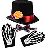 Spooktacular Creations 4 Pcs Halloween Day of The Dead Costume Accessories Set for Men Including 1 Pair of Skeleton Gloves, 1 Men's Hat and 1 Bow Tie for Halloween Cosplay Party