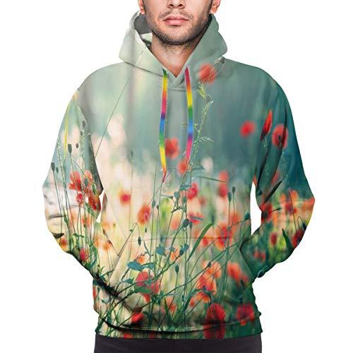 AIQIIA Men's Hoodies 3D Print Pullover Sweatershirt,Wild Red Poppy Flowers Field Summertime Sunbeams Gardening Bedding Plants,3XL