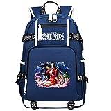 ZZGOO-LL One Piece Monkey·D·Luffy/Nico Robin Mochilas de Anime Mochila Escolar para Estudiantes Mochila para portátil con Puerto de Carga USB-A