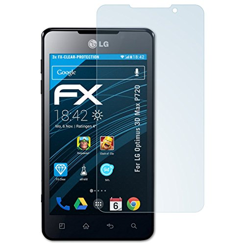 atFolix Schutzfolie kompatibel mit LG Optimus 3D Max P720 Folie, ultraklare FX Displayschutzfolie (3X)