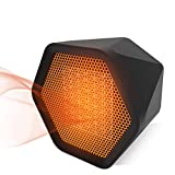 Space Electric Heater, Personal Space Heater, 900W Hexagonal Durable Mute Ceramic Heater for Office Room Desk Indoor Use, Table Mini Heater PTC Ceramic Heater (Black)