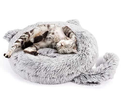 Pecute Cama para Perros de Felpa Cama Gato Redonda Mascotas Calentito Cojín Lavable Cama Suave Dount para Perros,Diámetro 55cm,Gris