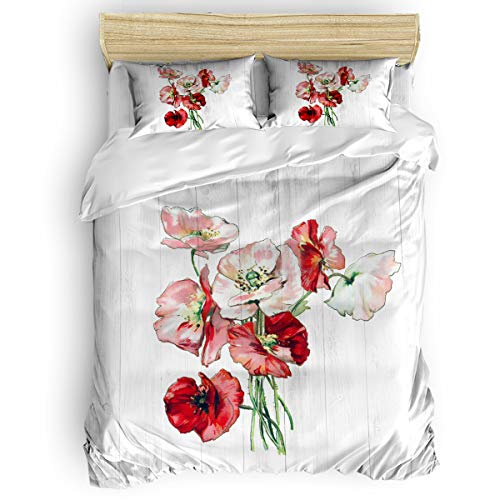 Xback Queen Duvet Cover Bedding 4 PCS Set with Zipper Closure - Lightweight Soft Cozy Skin-Friendly Microfiber Comforter, for Adults Kids, Durable and Fadeproof - Watercolor Poppy Flowers on Wood