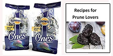 Sunsweet Ones Individual Pitted Prunes - 2 PACKS (12 oz each) of Individually Wrapped Dried Prunes PLUS Our Prune Recipe E-Book (Downloadable)