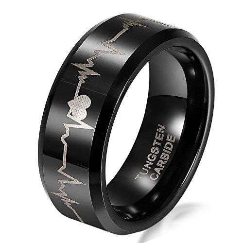 JewelryWe - Anillo Ancho 8mm tungsteno de carburo para Hombre, corazón y latidos Anillos de Compromiso, Negro tamaño 62 - Bolsa de Regalo