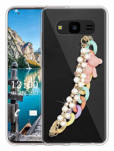 Sunrive Funda Compatible con Samsung Galaxy J7 Neo, Colgante movil con Cuerda Brillo Bling Crystal Silicona Slim Gel Transparente Carcasa Case Bumper Impactos Anti-Arañazos Espalda Cover(L Perla 1)