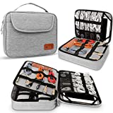 HOLIMET Cable Organiser Bag,Electronic Accessories Bag Double Layer for Travel Waterproof Cord Storage Organizer Bag for iPad, Kindle, Hard Drives, Cables, Chargers,Power Bank and More(Grey)