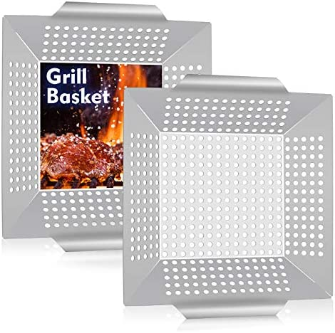 12in Grill Basket HaSteeL Large BBQ Grilling Basket Wok for Vegetable Kabobs Shrimps Heavy Duty product image