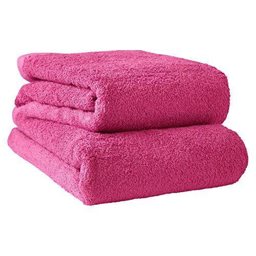 hiorie(ヒオリエ) 日本製 バスタオル ホテルスタイルタオル モダンカラー 2枚セット ラズベリーピンク 濃色 瞬間吸水