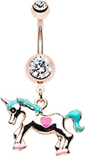 Clear cz Unicorn Pegasus Flying Horse dangle Belly button navel Ring piercing bar body jewelry 14g